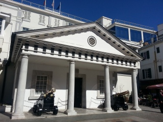 Gibraltar town hall with canons, which can be found all over the cityscape