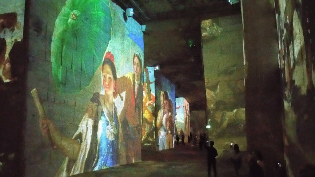 "alt=""Spanish paintings projected onto the walls of a former quarry in Les-Beaux-de-Provence, France"""